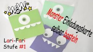 Monster Einladungskarte Basteln – DIY – Mike aus Monster AG – Selber machen aus Papier
